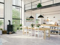 Apartamento moderno do sótão rendição 3d Foto de Stock Royalty Free