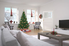 Apartamento - sala de visitas - Natal Imagens de Stock