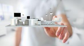 Apartamento tocante da rendição do branco 3D do homem de negócios Imagens de Stock