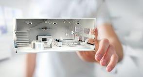 Apartamento tocante da rendição do branco 3D do homem de negócios Imagem de Stock Royalty Free