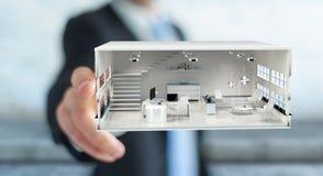 Apartamento tocante da rendição do branco 3D do homem de negócios Foto de Stock Royalty Free