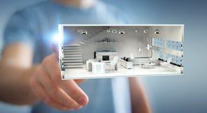 Apartamento tocante da rendição do branco 3D do homem de negócios Imagem de Stock