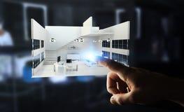 Apartamento tocante da rendição do branco 3D do homem de negócios com seu finge Fotos de Stock