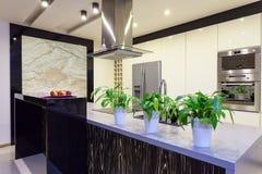 Apartamento urbano - cozinha do travertino imagens de stock
