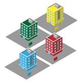 Apartamentos coloridos isométricos do vetor 3D, condomínio para bens imobiliários das vendas ilustração stock