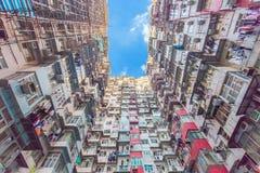 Apartamentos coloridos viejos en Hong Kong, China Imagenes de archivo