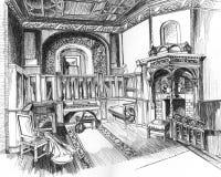 Apartamentos con el dibujo de la mano de la chimenea Foto de archivo