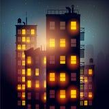 Apartamentos de la ciudad en la noche stock de ilustración