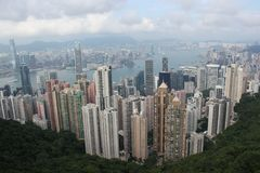Apartamentos en la bahía Hong Kong de Kowloon Imagenes de archivo
