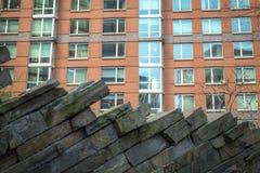 Apartamentos modernos com ajardinar da parede da rocha Imagens de Stock