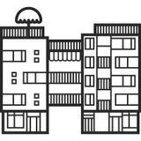 Apartamentos modernos para el alquiler y la vida en estilo escandinavo Casa famosa multi de la ciudad Casa urbana en escena de la Imágenes de archivo libres de regalías