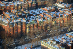 Apartamentos traseiros da baía em Boston, EUA Imagem de Stock Royalty Free