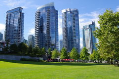 Apartmants in Vancouver. Coal Harbor in downtown Vancouver in Canada Royalty Free Stock Photos