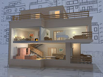 Apartment. 3D isometric view of the cut residential house on architect drawing Stock Photo