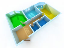 Apartment. Schematic three-dimensional model of an apartment Royalty Free Stock Photo