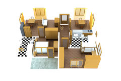 Apartment. Small apartment shown from top without walls. Illustration is 3d computer generated and isolated on white background royalty free illustration