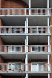 Apartment balconies. Vertical view of apartment balconies royalty free stock photo