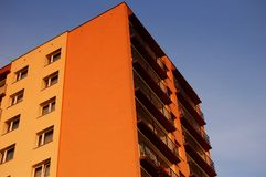 Apartment block. High apartment block with balconies at dusk Stock Photography