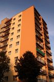 Apartment block. High apartment block with balconies at dusk Royalty Free Stock Photography