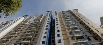 Apartment block. With blue sky Stock Photo