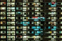 Apartment block illuminated at night