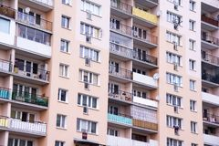Apartment block in Poland. Typical look of a multi-story block in one of the housing estates in Poland, although it may well be a settlement in every city of the Stock Photography