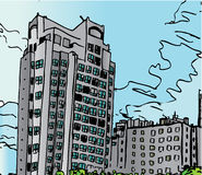 Apartment Block Skyline. A scalable vector illustration of an apartment building stock illustration