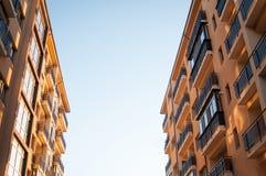 Apartment block at sunset Stock Photo
