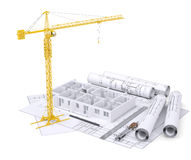 Apartment block under construction, crane Royalty Free Stock Photo