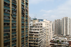 Apartment blocks. Overcrowding apartment buildings in Hong Kong royalty free stock photos