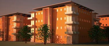 Apartment blocks. Image of a neighborhood at sunset. apartment blocks are 3d computer generated. image has no blur Stock Images