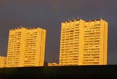 Apartment blocks 3. Apartment buildings blocks with a cloudy evening sky Stock Photos