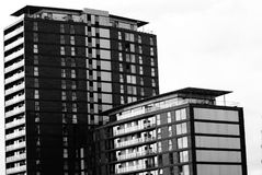 Apartment blocks. Black and white image of apartments blocks in Salford Quays Royalty Free Stock Photography