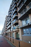 Apartment blocks in Blankenberge, Belgium. Seen in a wide angle view royalty free stock photography