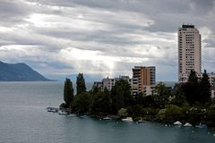 Apartment Blocks and Boats in Montreux Switzerland Stock Image