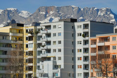 Apartment blocks with mountains no.2 Royalty Free Stock Images