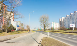 Apartment blocks road Stock Image