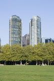 Apartment buidlings with park views Stock Photography