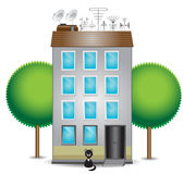 Apartment building. Residential apartment building with trees and a black cat vector illustration