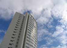 Apartment building in Austria. White apartment building in Vienna, Austria. nice blue sky with white clouds Stock Photo