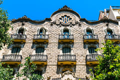 Apartment Building Block Exterior Facade In Barcelona Stock Images