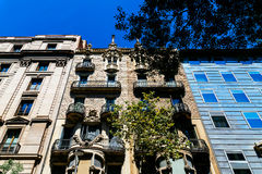 Apartment Building Block Exterior Facade In Barcelona Royalty Free Stock Images
