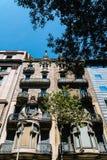 Apartment Building Block Exterior Facade In Barcelona Stock Photos