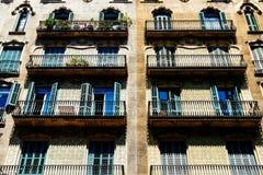 Apartment Building Block Exterior Facade In Barcelona Stock Image