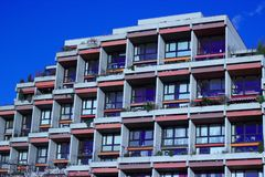 apartment building with blue sky royalty free stock photos