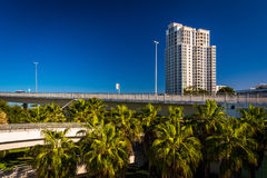 Apartment building and the Clearwater Memorial Causeway in Clear Royalty Free Stock Photo