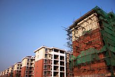 Apartment building construction site Royalty Free Stock Photography