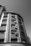 Apartment building corner. Black and white photography apartment building side Royalty Free Stock Photos
