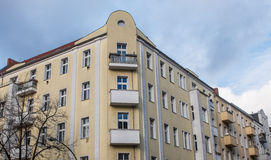 Apartment building corner with round facade Stock Photography
