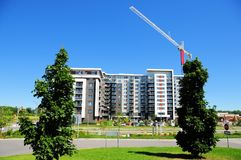 Apartment building, crane, Canada Stock Photography